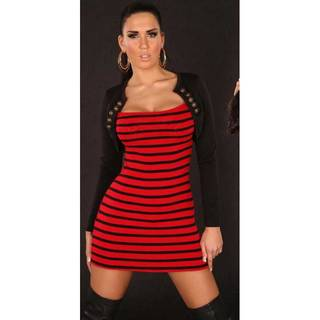 Fashion Strickkleid gestreift 1101 rot