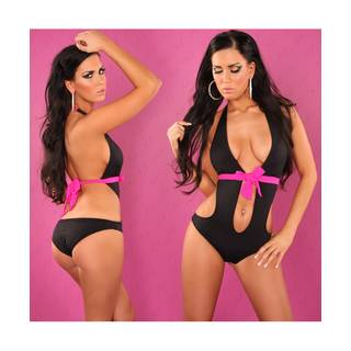 Push-Up Monokini 4699 schwarz-pink